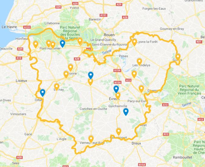 La carte des rassemblements et barrages filtrants établie par la préfecture de l'Eure mercredi à 18 heures