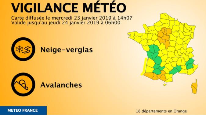 18 départements sont toujours ce mercredi soir en vigilance orange neige et verglas, dont ceux d'Île-de-France - document © Météo France