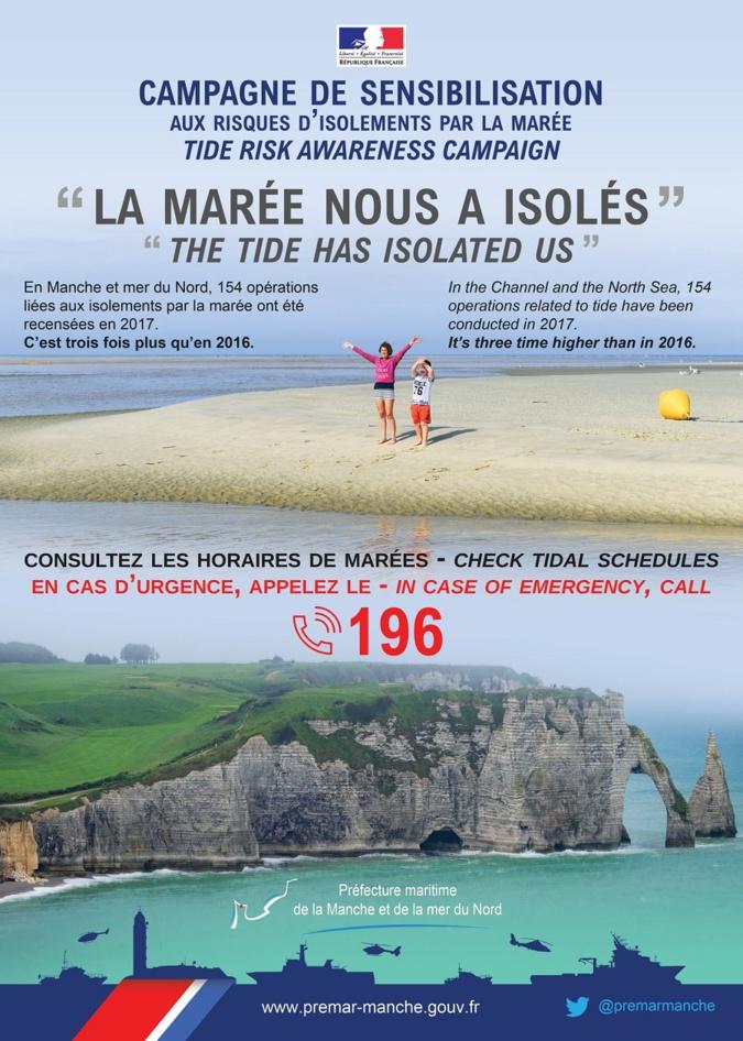 L'affiche de la campagne de sensibilisation aux dangers de l'isolement par la marée