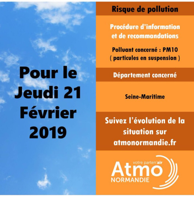Pollution de l'air par les particules en suspension jeudi 21 février en Seine-Maritime