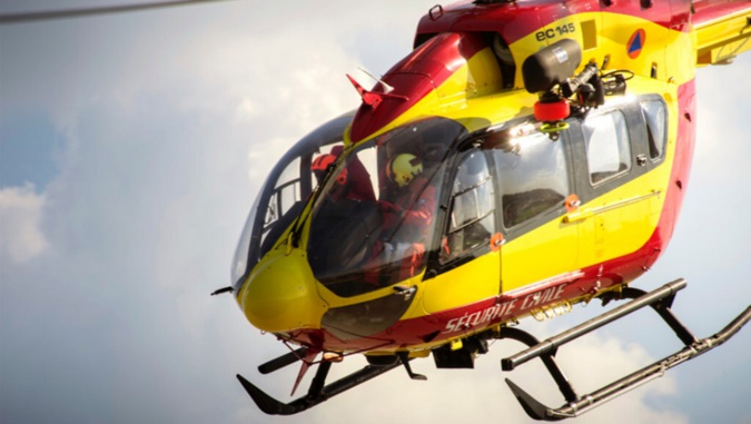Le motard grièvement blessé a été héliporté vers le CHU de Rouen - Illustration