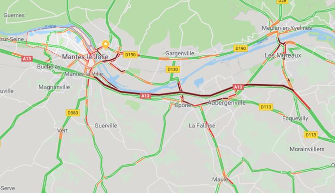 L'accident sur l'A13 est terminé, mais toujours 16 km de bouchon vers Rouen