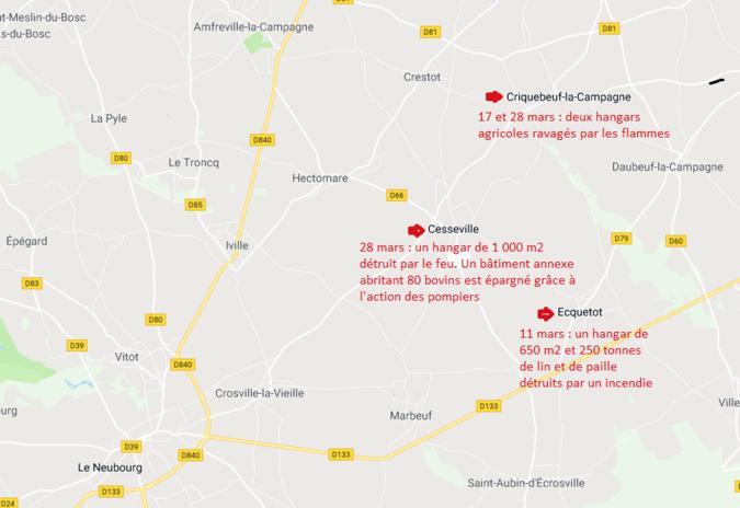 Eure : les gendarmes traquent les incendiaires de hangars agricoles autour du Neubourg