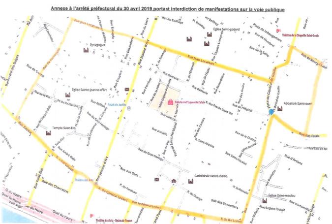 Le périmètre d'interdiction est délimité par les rues Jean Lecanuet, de Fontenelle, Racine, du Général-Giraud, du Général Leclerc, de la République, et dans la partie délimitée autour de l'hôtel de ville et de l'abbatiale Saint-Ouen