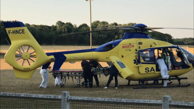 La victime, blessée grave, a été évacuée par l'hélicoptère Viking 76 vers le CHU de Rouen - Illustration @ infonormandie