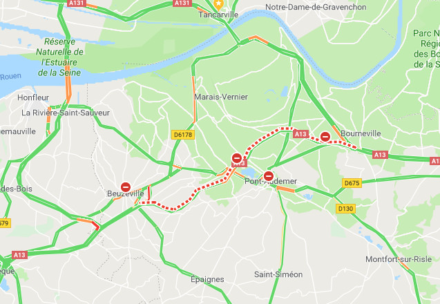 Accident de poids-lourd sur l'A13 dans le sens Paris - Caen, près de Pont-Audemer