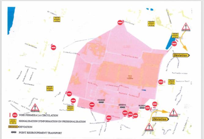 Un périmètre de sécurité de 400 mètres autour de la bombe sera établi et les riverains situaés dans cette zone seront évacués - Cliquer sur le plan pour l'agrandir