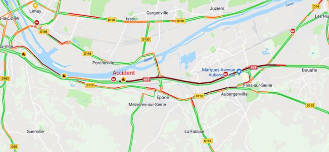 Accident entre deux camions sur l'A13 à Guerville : bouchon de 6 km vers la Normandie