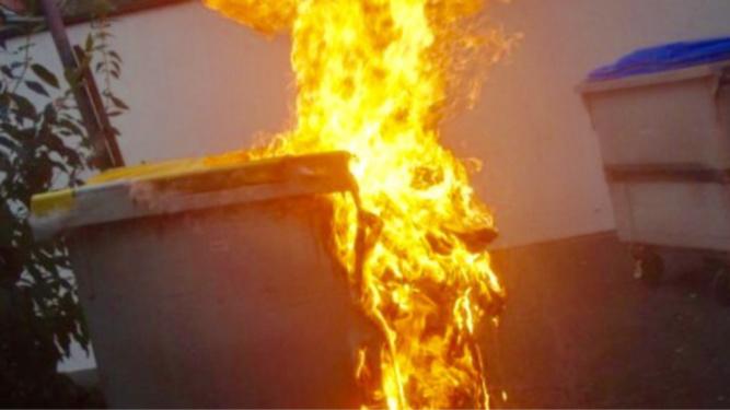 Les flammes ont brûlé une poubelle et un compteur à gaz et endommagé un poteau de telephone - Illustration
