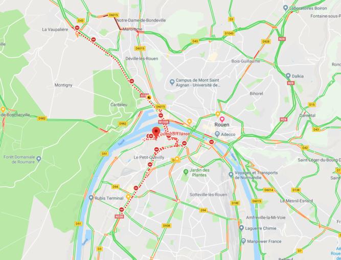 La carte des routes fermées ce matin dans l'agglomération de Rouen, autour de l'usine Lubrizol . Cliquer sur la carte pour l'agrandir