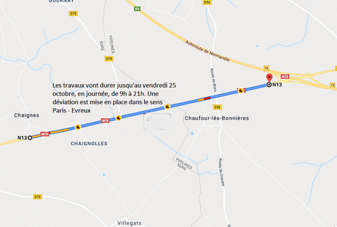 Travaux sur la RN13 entre Chaufour et Chaignes : circulation modifiée jusqu'au 25 octobre