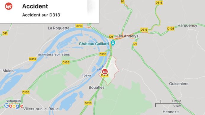 Deux voitures se percutent entre Les Andelys et Bouafles (Eure) : un blessé grave
