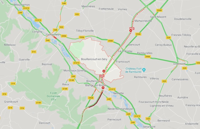 Un poids-lourd embrasé près de Blangy-sur-Bresle : l'A28 fermée pendant trois heures ce mercredi matin