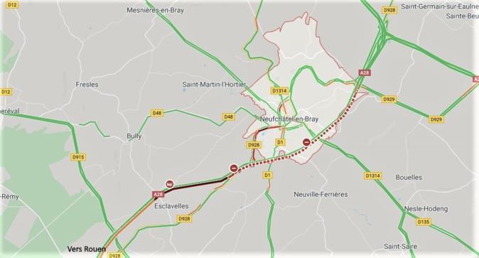 Collision entre deux camions à Neufchâtel-en-Bray : l'A28 coupée entre Rouen et Abbeville
