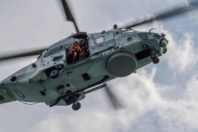 La victime a été hélitreuillée à bord de l'hélicoptère Caïman de la Marine nationale - illustration @ Marine nationale/Prémar/Twitter