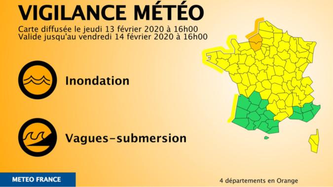 """L'Eure placé en vigilance """"orange inondation"""" et vigilance """"jaune vents violents et orages"""""""
