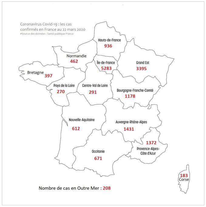 Le nombre de personnes testées positives dans les régions à ce jour, mardi 22 mars 2020  - illustration @ infoNormandie/iStock