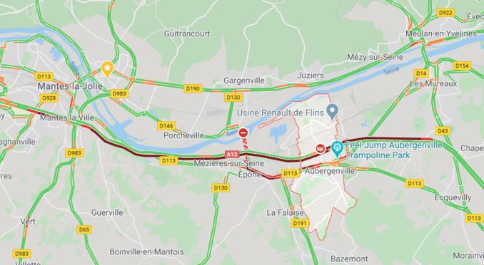 Un poids lourd couché sur l'A13 à Aubergenville : circulation difficile entre Mantes et Poissy (Yvelines)