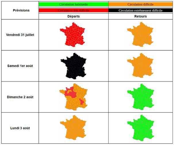 Chasse-croisé sur les routes : samedi classé noir pour les départs, rouge pour les retours