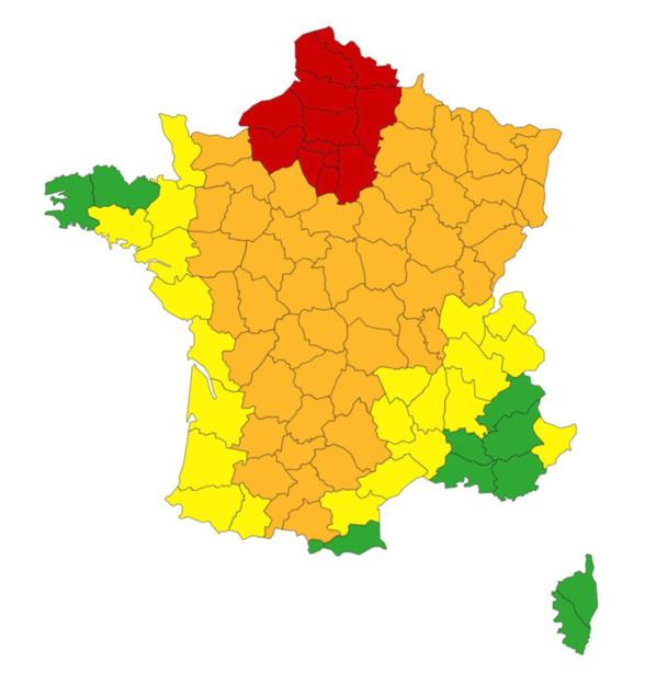 Czrte des départements en vigilance canicule @ météo France