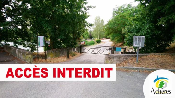 La mairie d'Achères ne manque pas de rappeler sur son site et sa page Facebook que l'accès de l'étang des Bauches est interdit, de même que la baignade - Illustration © Ville d'Achères