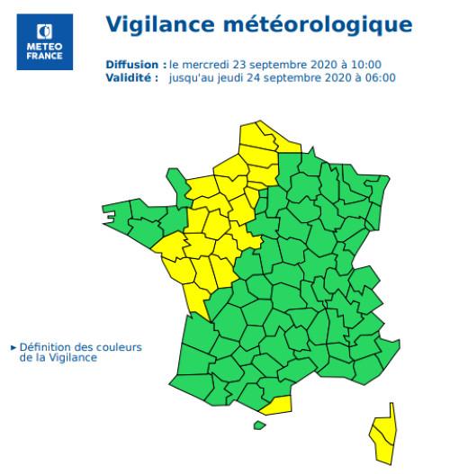 24 départements sont en vigilance jaune - Document © Météo France