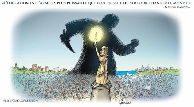 Le dessin de Caunu qui va être exposé en grand format sur les murs des Hôtels de Région, à Rouen et Caen - document transmis par la Région Normandie