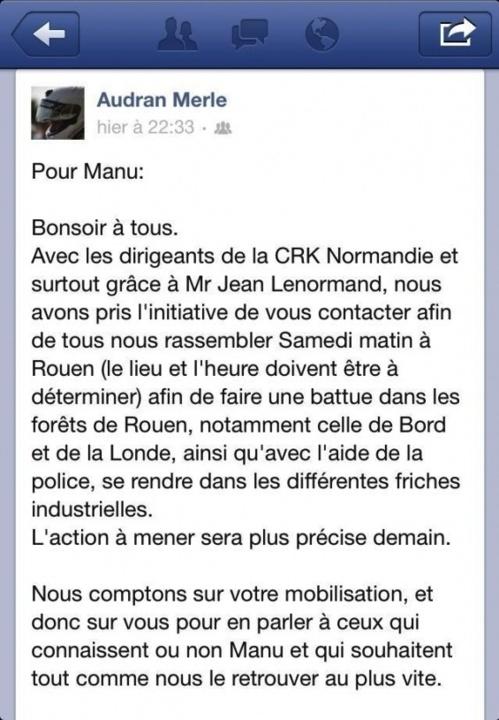 Audran Merle, la soeur du jeune disparu, a publié un appel à la mobilisation pour la battue de samedi sur sa page Facebook