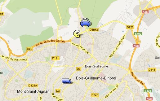 Le fourgon blindé avait quitté quelques minutes plus tôt le centre régional de Loomis, rue Jean-Mermoz, lorsqu'il a été attaqué chemin de Clères, à quelques kilomètres de là. La voiture des malfaiteurs a été retrouvée calcinée chemin de la Bretèque à Houppeville. Cliquez sur le plan pour plus de détails  (Google Maps)