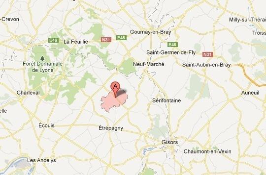 Longchamps, un village sans histoire du canton d'Etrépagny (Google Maps)