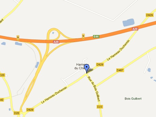 La collision s'est produite à l'intersection du CD929 et du CD23 à Grémonville (Google Maps)