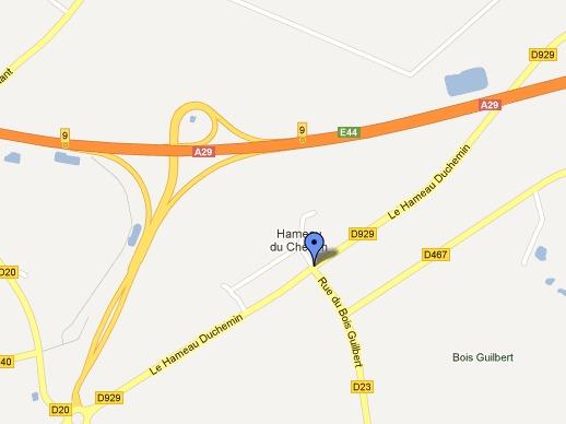 La collision s'est produite à l'intersection du CD929 et du CD23 à Grémonville (Google Maps)