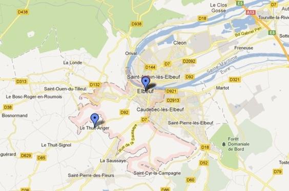 Les malfaiteurs sont allés chercher le bijoutier chez lui à Thuit-Anger et l'ont contraint à les conduire à Elbeuf (Carte Google Maps)