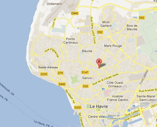 La rue Jean Borda est à mi-chemin entres quartiers Sanvic et de la Mare Rouge (Google Maps)