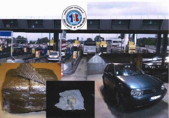 Dans la Golf (à droite) interceptée au péage d'Heudebouville, sur l'A13, les policiers ont découvert 1,3 kg de résine de cannabis ( à gauche) et 360 grammes d'un produit de synthèse à base d'amphétamines (Photomontage)