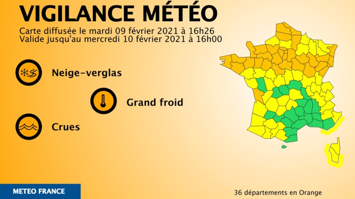 La carte des 36 départements en vigilance Orange neige-verglas Document © Météo France