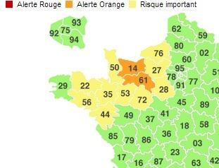 Le Calvados et l'Orne sont plus particulièrement concernés par cet épisode neigeux qui devrait gagner le sud de la Seine-Maritime et l'Eure dans le courant de la nuit prochaine (photo capture d'écran Météconsult)