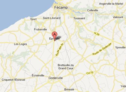 La collision s'est produite sur la D925 à hauteur d'Epreville, sur l'axe Goderville - Fécamp qui a été fermé à la circulation (capture d'écran Google Maps)