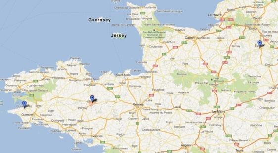 Eure, Douarnenez, Loudéac : le périple criminel des deux Haut-Normands (Google Maps)