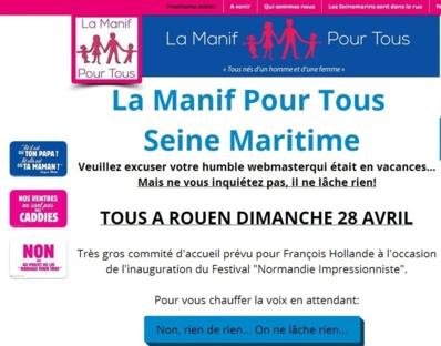 """Manif pour tous : """"gros comité d'accueil"""" pour la venue de Hollande dimanche à Rouen"""