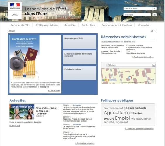 La page d'accueil du site unique des services de l'Etat dans l'Eure