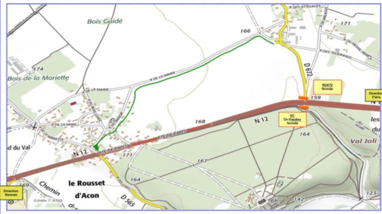 Travaux sur la RN 12 à Acon (Eure) : déviations et ralentissements à prévoir