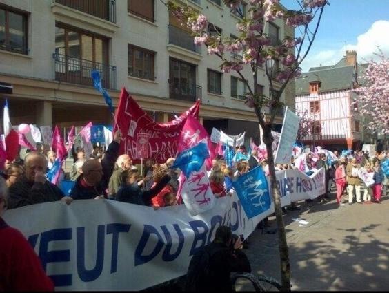 Les manifestants ce matin à l'heure de l'inauguration du festival Normandie Impressionniste à Rouen (Photo @manifpourtous27)