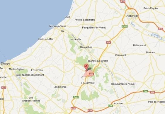 L'accident s'est produit sur l'A28 entre Saint-Riquier-en-Rivière et Fallencourt  (photo Google Maps)