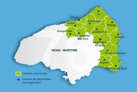 Les cantons les plus touchés par la méningite en Seine-Maritime et où la vaccination est fortement conseillée