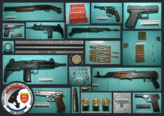 Une partie des armes de guerre découverte dans un local de la Marre Rouge au Havre