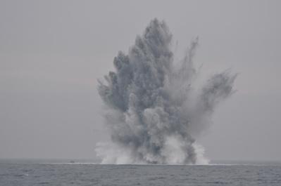Quatre mines ont été détruites au large du Havre et de Dieppe, entre lundi 17 et vendredi 21 juin (Photo Marine nationale)