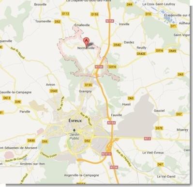 Le plan d'actions du préfet concerne huit communes autour de Normanville (Google Maps)