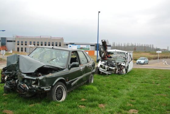Scène d'accident à Saint-Aubin-sur-Gaillon (Eure) pour sensibiliser les usagers de la route (Photo Infonormandie)