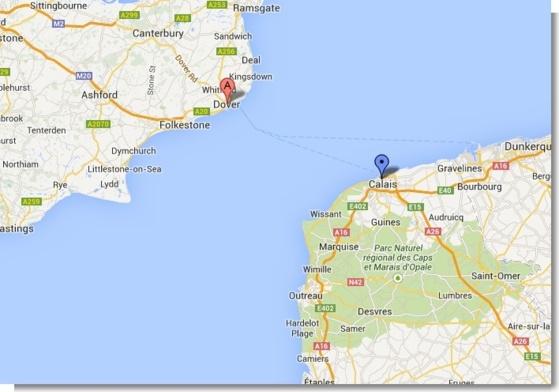 La nageuse britannique entreprenait de traverser la Manche entre Douvres (Angleterre) et Calais (Google Maps)